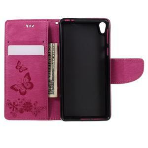 Butterfly PU kožené puzdro na Sony Xperia E5 - rose - 6
