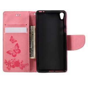 Butterfly PU kožené puzdro pre Sony Xperia E5 - ružové - 6