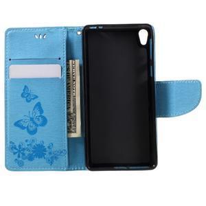 Butterfly PU kožené puzdro na Sony Xperia E5 - světledmodré - 6