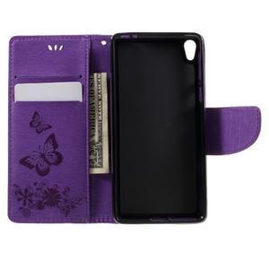 Butterfly PU kožené puzdro na Sony Xperia E5 - fialové - 6