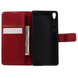 Leathy PU kožené puzdro na Sony Xperia E5 - červené - 6