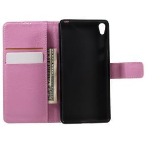 Leathy PU kožené puzdro pre Sony Xperia E5 - ružové - 6