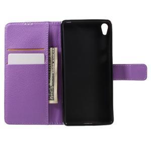 Leathy PU kožené puzdro pre Sony Xperia E5 - fialové - 6