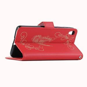 motýľikové PU kožené puzdro pre mobil Sony Xperia E5 - červené - 6