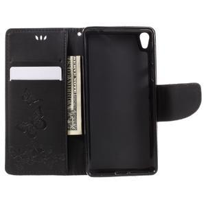 Butterfly PU kožené puzdro na Sony Xperia E5 - čierne - 6