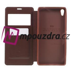 Richi PU kožené pouzdro s okýnkem na Sony Xperia XA Ultra - hnědé - 6