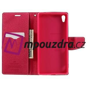 Diary PU kožené puzdro pre mobil Sony Xperia XA Ultra - ružové - 6