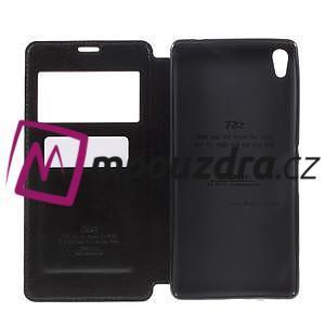 Richi PU kožené puzdro s okienkom na Sony Xperia XA Ultra - čierne - 6