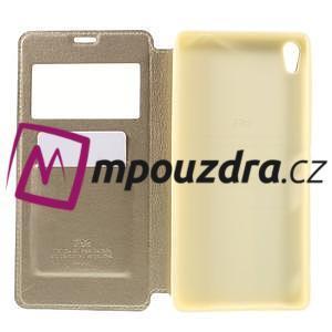 Richi PU kožené puzdro s okienkom na Sony Xperia XA Ultra - zlaté - 6