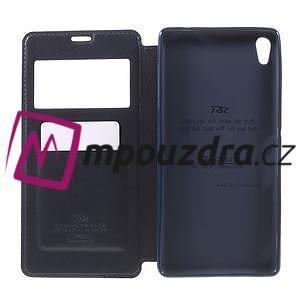 Richi PU kožené puzdro s okienkom na Sony Xperia XA Ultra - tmavomodré - 6