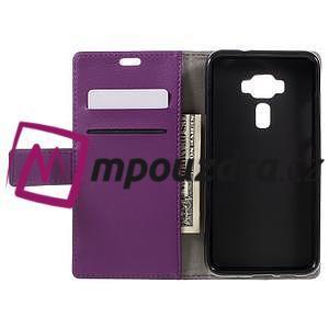 Leathy peňaženkové puzdro na Asus Zenfone 3 ZE520KL - fialové - 6