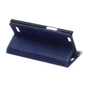 Croco style peňaženkové puzdro pre BlackBerry Leap - tmavomodré - 6