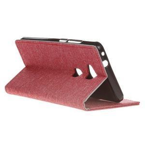 Textilné/koženkové puzdro pre Honor 5X - červené - 6