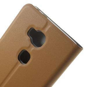 Peňaženkové PU kožené puzdro pre mobil Honor 5X - hnedé - 6