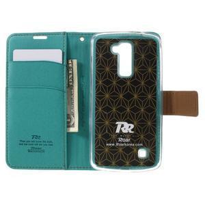 Style PU kožené puzdro pro LG K10 - zelenomodré - 6