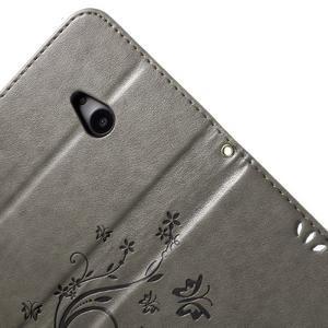 Butterfly peňaženkové puzdro na Microsoft Lumia 535 - šedé - 6