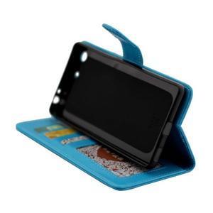 Horse PU kožené pouzdro na Sony Xperia M5 - modré - 6