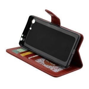 Horse PU kožené puzdro pre Sony Xperia M5 - hnedé - 6