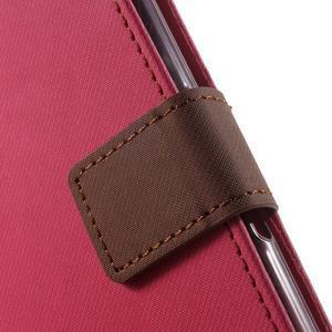 Wall PU kožené puzdro pre mobil Sony Xperia M5 - rose - 6