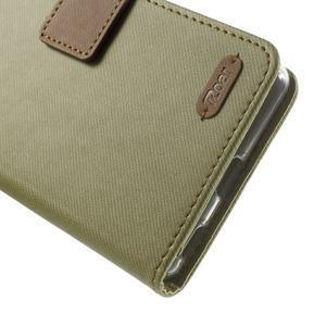 Wall PU kožené puzdro pre mobil Sony Xperia M5 - khaki - 6