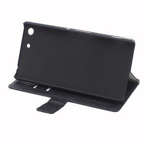 Peňaženkové puzdro s textúrou krokodílej kože na Sony Xperia M5 - čierne - 6