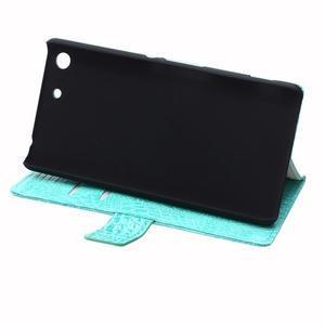 Peněženkové pouzdro s texturou krokodýlí kůže na Sony Xperia M5 - cyan - 6
