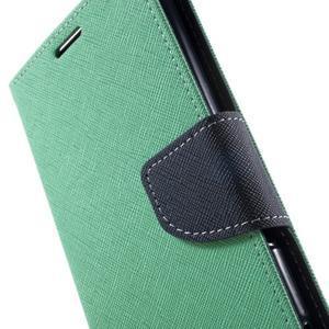 Goos PU kožené peňaženkové puzdro pre Sony Xperia M5 - cyan - 6