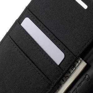 Canvas PU kožené / textilné puzdro pre Sony Xperia M5 - čierne - 6