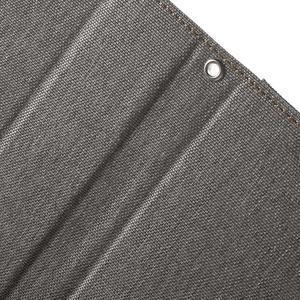 Canvas PU kožené / textilní pouzdro na Sony Xperia M5 - šedé - 6