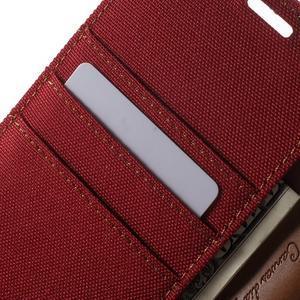 Canvas PU kožené / textilné puzdro pre Sony Xperia M5 - červené - 6