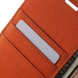 Canvas PU kožené / textilní pouzdro na Sony Xperia M5 - oranžové - 6