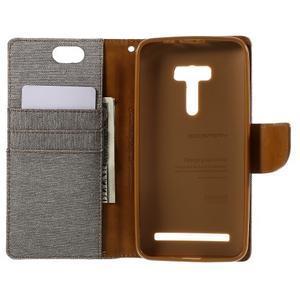 Canvas PU kožené/textilné puzdro pre Asus Zenfone Selfie ZD551KL - šedé - 6
