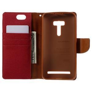 Canvas PU kožené/textilní puzdro na Asus Zenfone Selfie ZD551KL - červené - 6