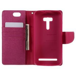 Canvas PU kožené/textilné puzdro pre Asus Zenfone Selfie ZD551KL - rose - 6