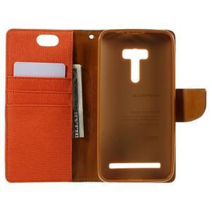 Canvas PU kožené/textilní puzdro na Asus Zenfone Selfie ZD551KL - oranžové - 6