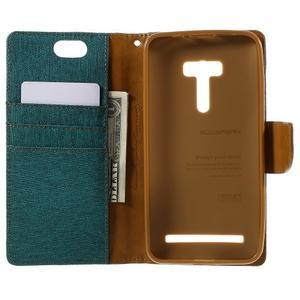 Canvas PU kožené/textilné puzdro pre Asus Zenfone Selfie ZD551KL - zelenomodré - 6
