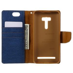 Canvas PU kožené/textilné puzdro pre Asus Zenfone Selfie ZD551KL - modré - 6