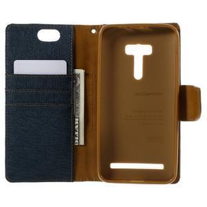 Canvas PU kožené/textilné puzdro pre Asus Zenfone Selfie ZD551KL - tmavo modré - 6