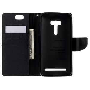 Canvas PU kožené/textilní puzdro na Asus Zenfone Selfie ZD551KL - čierné - 6