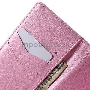 Peněženkové PU kožené pouzdro na Huawei Ascend P8 Lite - červené květy - 6