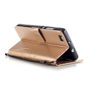 Magicfly PU kožené puzdro na Huawei P8 Lite - zlaté - 6