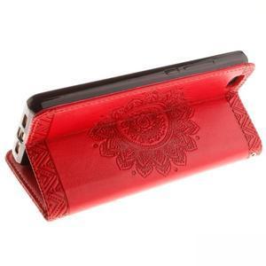 Mandala PU kožené pouzdro na mobil Huawei P8 Lite - červené - 6