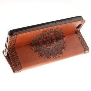 Mandala PU kožené pouzdro na mobil Huawei P8 Lite - hnědé - 6