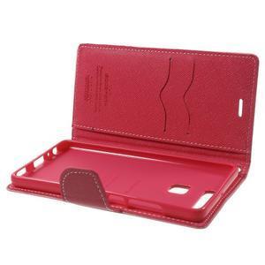 Diary PU kožené pouzdro na mobil Huawei P9 - růžové - 6