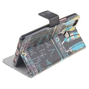 Knížkové PU kožené pouzdro na Huawei P9 Lite - peříčka - 6