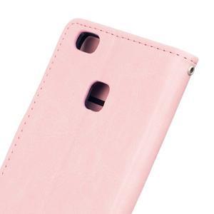 Wall PU kožené pouzdro na Huawei P9 Lite - růžové - 6