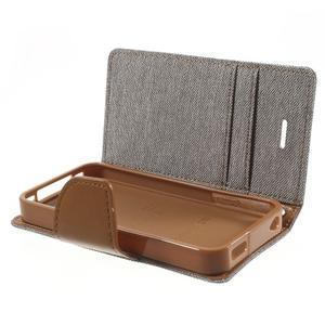 Canvas PU kožené/textilné puzdro pre iPhone 4 - sivé - 6