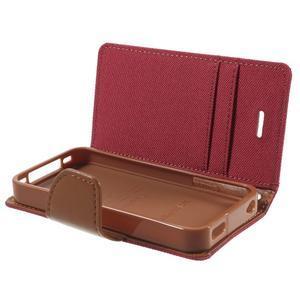 Canvas PU kožené/textilní pouzdro na iPhone 4 - červené - 6