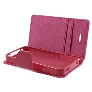 Canvas PU kožené/textilné puzdro pre iPhone 4 - rose - 6