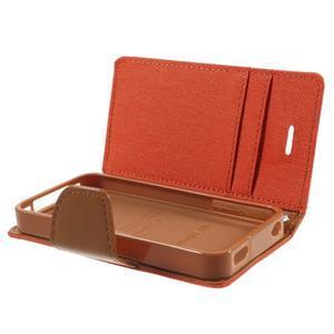 Canvas PU kožené/textilné puzdro pre iPhone 4 - oranžové - 6
